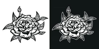 Black and white illustration of the Rose flower. vector