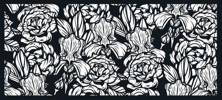 Seamless pattern with flowers for black background. vector