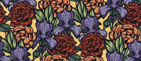Seamless color background with flowers. vector