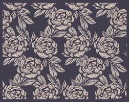 Seamless pattern with peony flowers in vintage style. vector