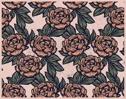 Seamless vintage pattern with peony flowers on peach background. vector