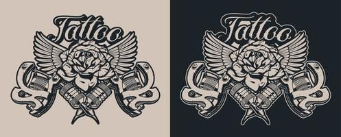 Black and white Illustrations tattoo machines with rose and wings vector