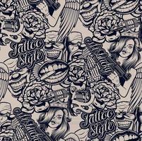 Monochrome tattoo style pattern vector
