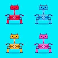 Cartoon illustration of cute color variation robot vector