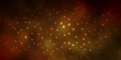 Dark Green, Yellow vector background with small and big stars.