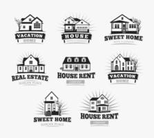 House icon set. Home emblem collection for real estate business vector