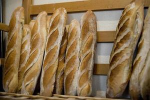 Authentic country bread in a French bakery photo