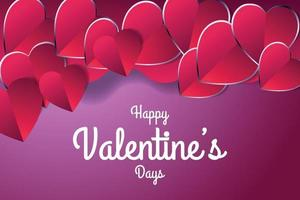 valentine day poster with red love or heart vector illustration