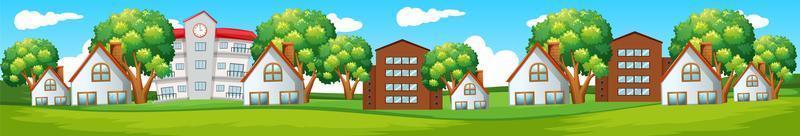 fondo transparente con casas en las colinas vector