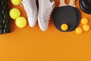 arreglo de elementos deportivos estilo minimalista foto