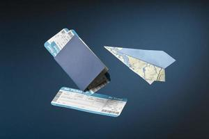 Travel concept with passport tickets photo
