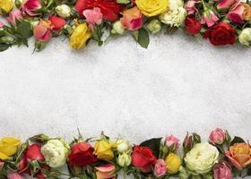 vista superior hermosas flores con marco en blanco foto