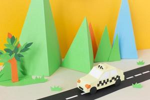 composición de estilo de papel de transporte urbano foto