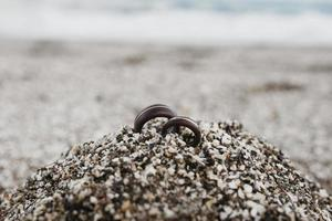 The wedding rings beach sand photo