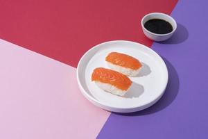 Flat lay sushi food plate photo