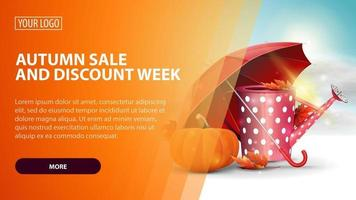 Autumn sale and discount week, banner wuth watering can and pumpkin vector