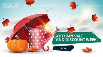 Autumn sale and discount week, horizontal discount banner vector