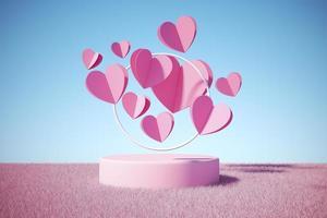 la vista superior muchos corazones rosados foto