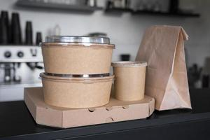 Front view packed food prepared takeaway photo