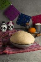 High angle pan de muerto dough photo
