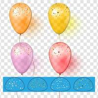 Realistic colorful balloons with confetti Realistic vector