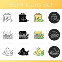 conjunto de iconos de alimentos de soja vector