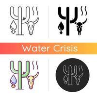 sequía extrema que causa el icono de extinción de animales vector