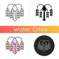 Crop shortage due to water resources lack icon vector