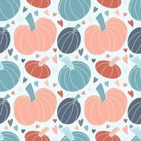 Cute seamless pattern with pastel pumpkins and hearts vector