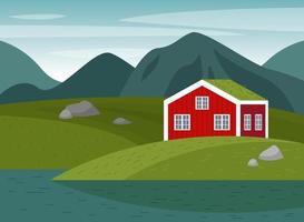 Vector scene with a Norwegian landscape.