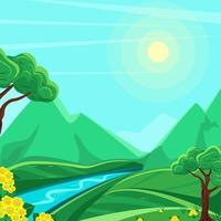 paisaje de montaña de verano río entre montañas vector