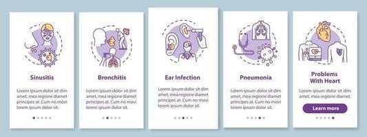 Pantalla de página de la aplicación móvil de incorporación de síntomas de gripe con conceptos vector