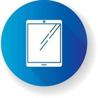 Tablet computer flat design long shadow glyph icon vector