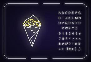 Cheese bread neon light icon vector