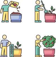 Indoor gardening process RGB color icons set vector