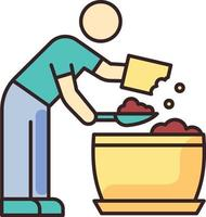 Putting soil into flower pot RGB color icon vector