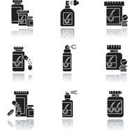 Hair loss drop shadow black glyph icons set vector