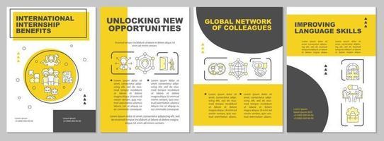 International internship benefits brochure template vector