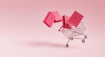carrito de compras con bolsas foto