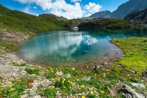 Small high mountain lake with transparent photo