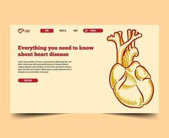 Minimal with illustration landing page web template vector