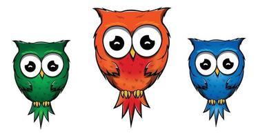 Cute Owl Cartoon Character Birds vector