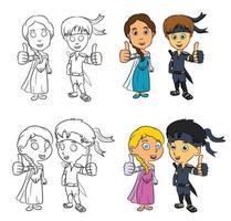Ninja and Princess Cartoon Children vector