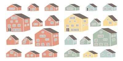 Set of red yellow blue green red wooden houses vector