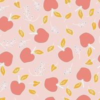 Hand drawn vector seamless pattern of apples and berries