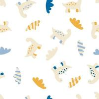 Hand drawn vector seamless pattern of dinosaurs and clouds