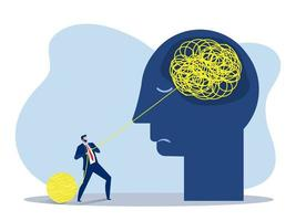 Businessman helps with chaos, mental health or psychotherapy, vector