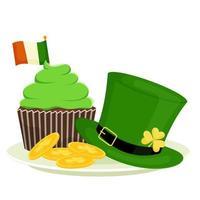 St. Patrick's cupcake, leprechaun hat, gold coins. Cartoon vector