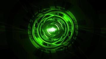 Loop Glow Green Neon Futuristic Hud Interface Tunnel video