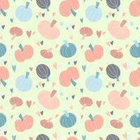 Cute seamless pattern with pastel pumpkins hand drawn, colorful hearts vector
